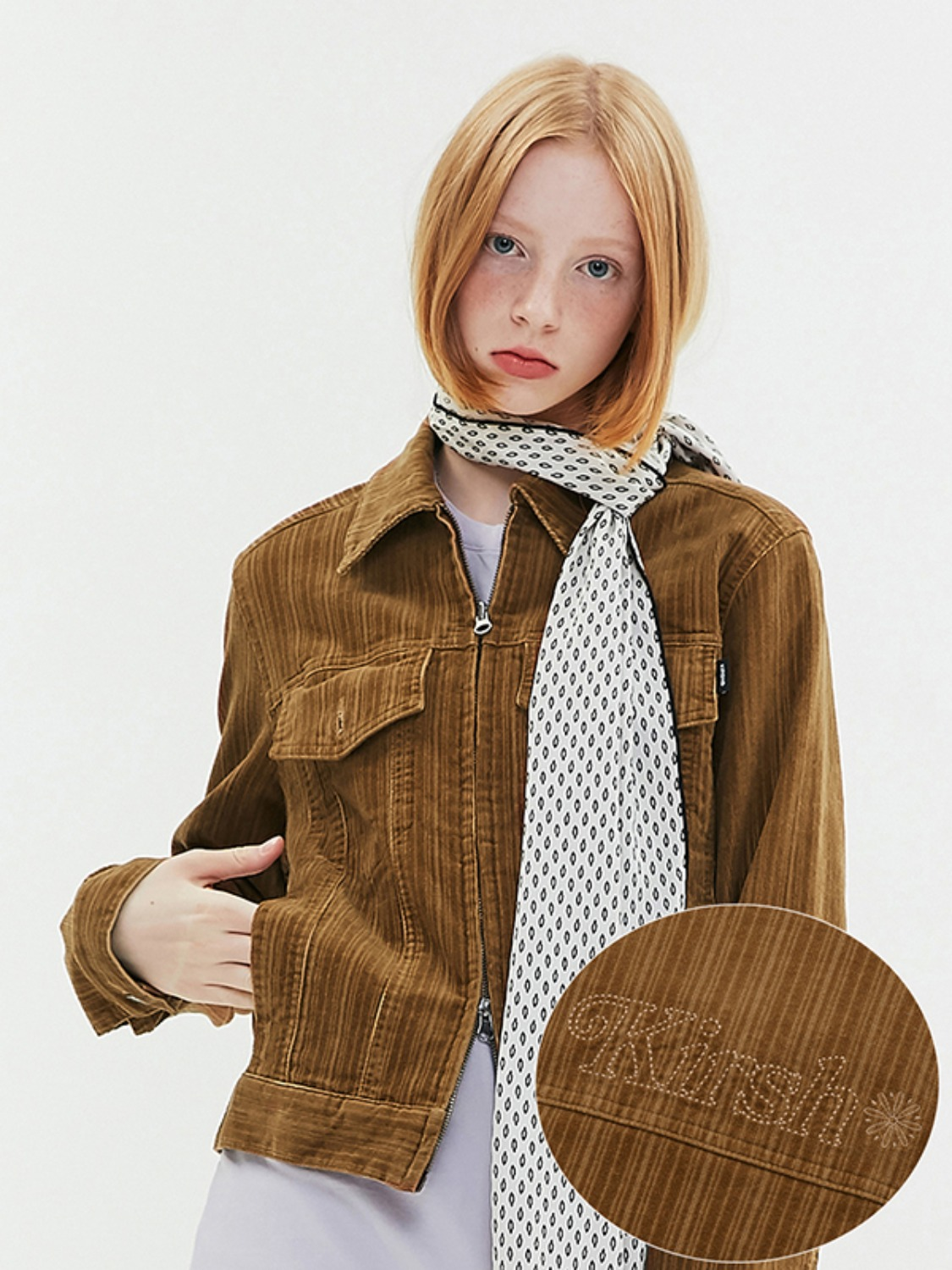 CORDUROY ZIP JACKET JA [DARK BEIGE]