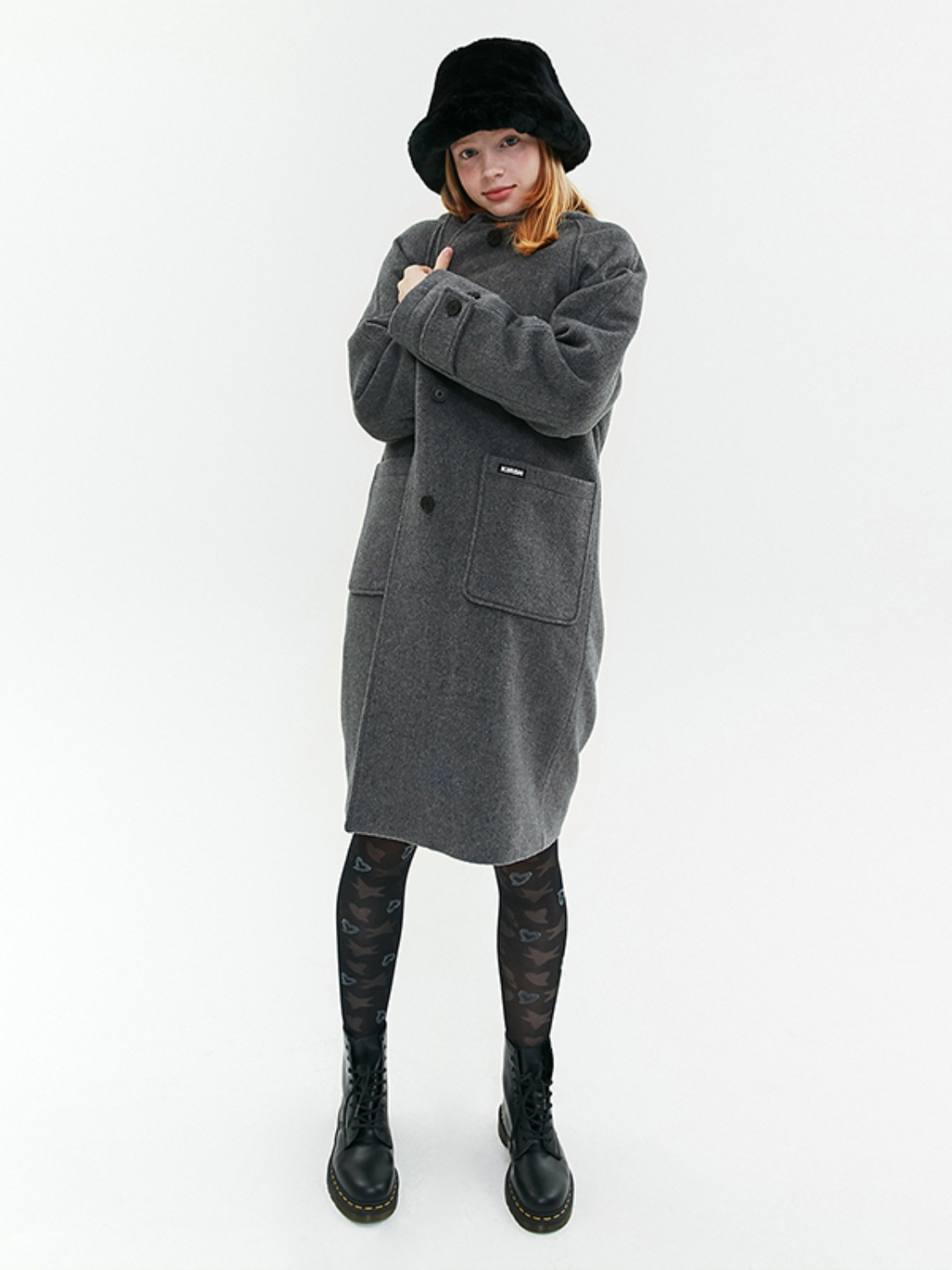 HOOD WOOL LONG COAT JA [MELANGE GRAY]