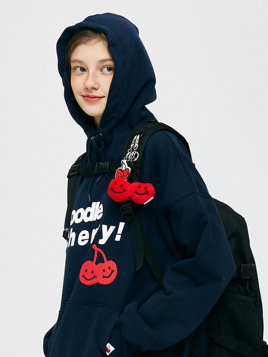 MIDDLE DOODLE CHERRY HOODIE KS [NAVY]