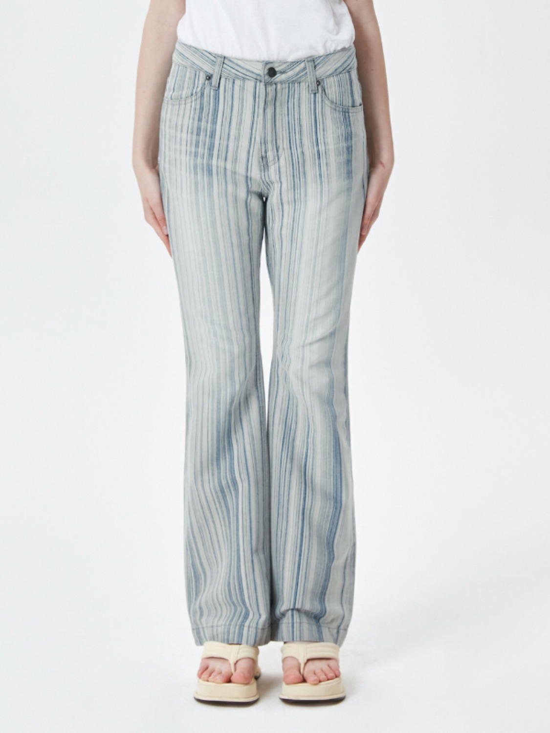 VINTAGE STRIPE BOOTCUT DENIM PANTS KS [LIGHT BEIGE]
