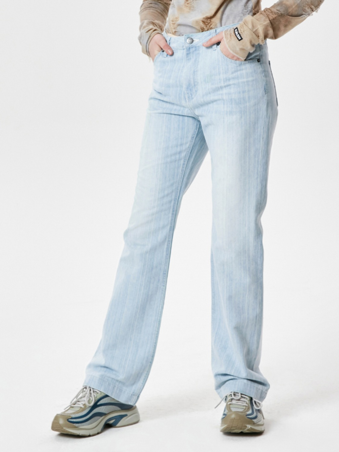 VINTAGE STRIPE BOOTCUT DENIM PANTS KS [LIGHT BLUE]
