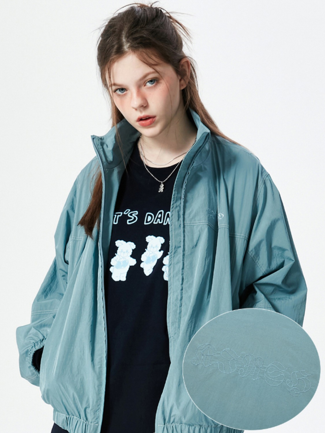 OUTLINE LETTER TRACK JACKET KS [SKY]