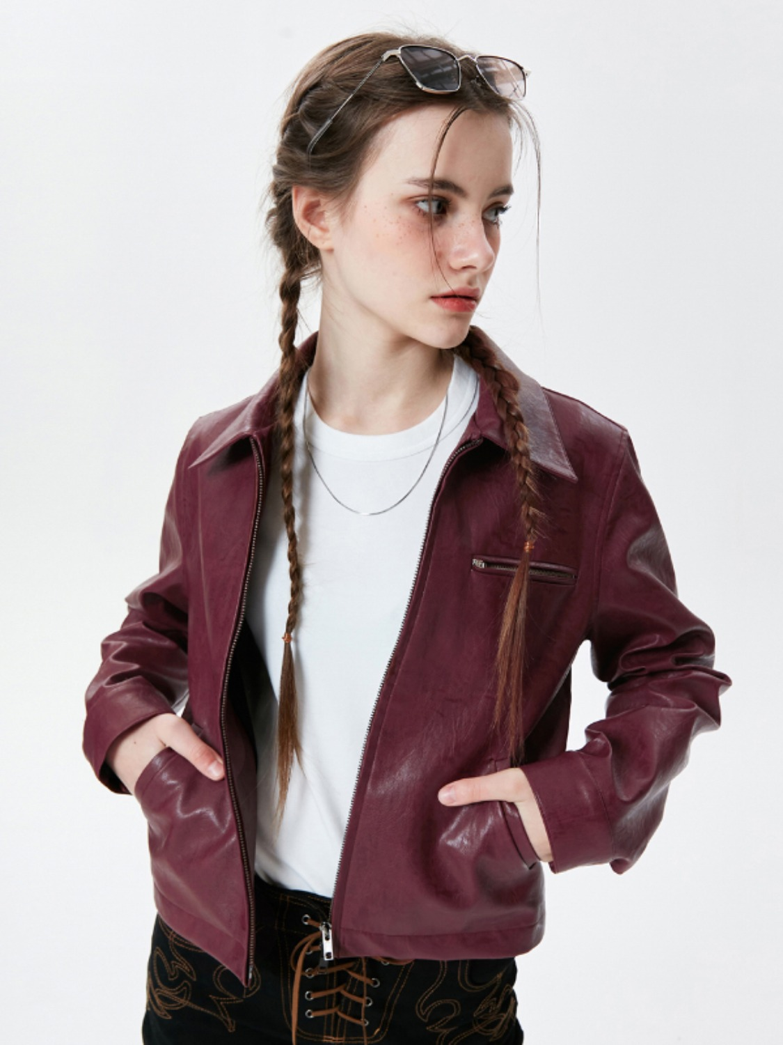 LEATHER TWO WAY ZIP JACKET KS [WINE]
