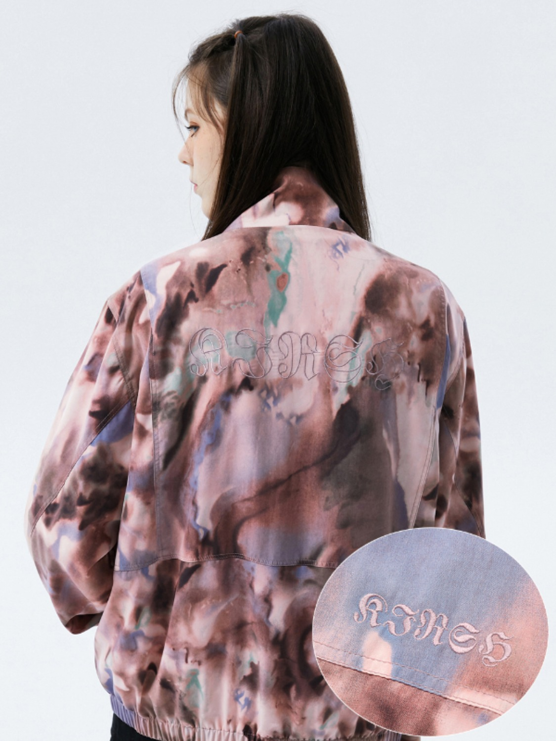 OUTLINE LETTER TRACK JACKET KS [PINK]