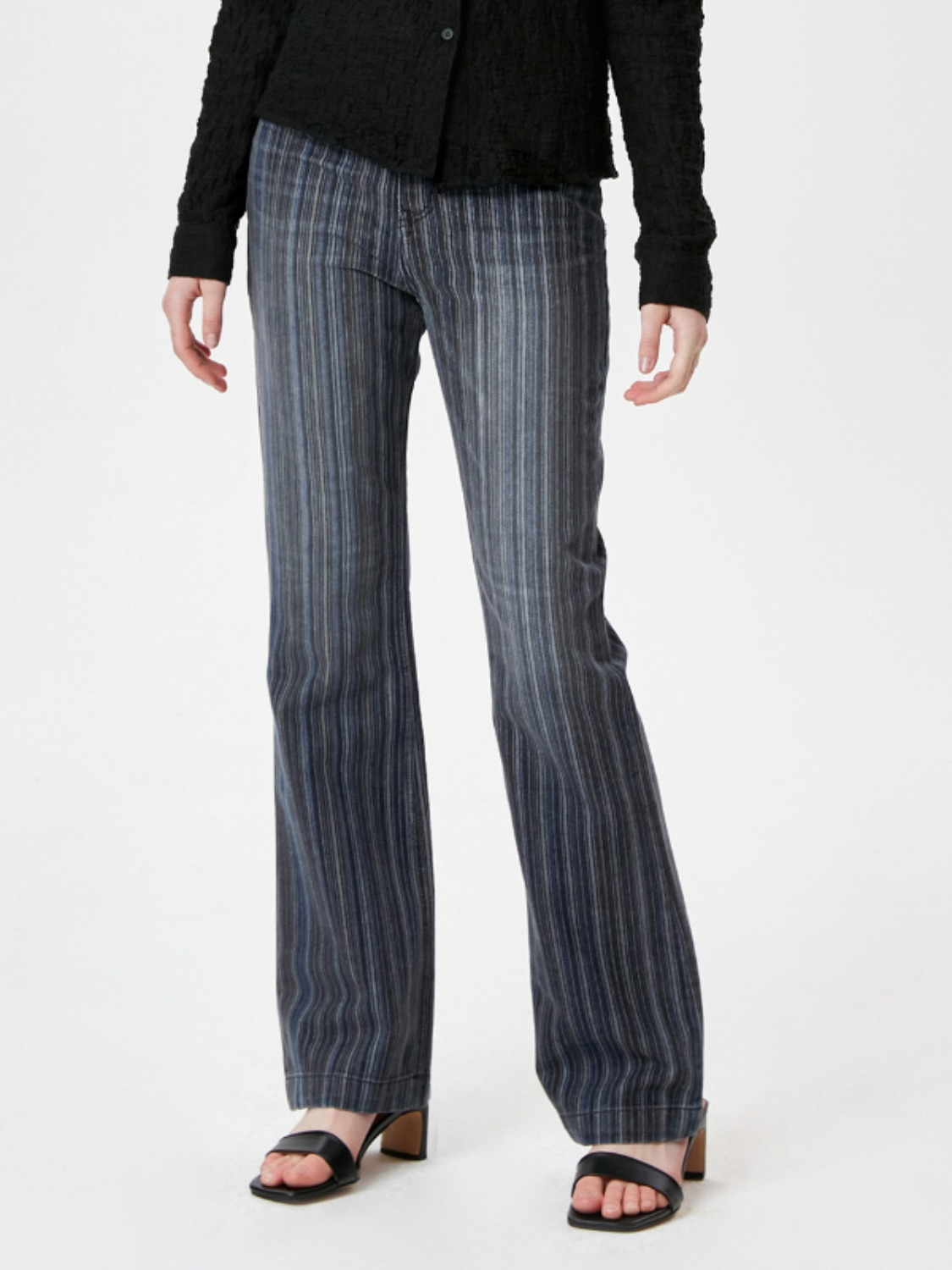 VINTAGE STRIPE BOOTCUT DENIM PANTS KS [BLACK]